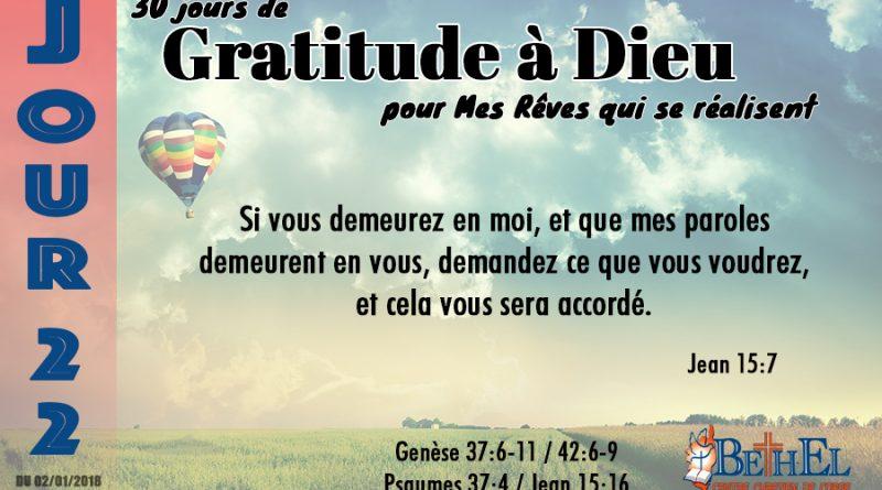 30 Jours de Gratitude à Dieu
