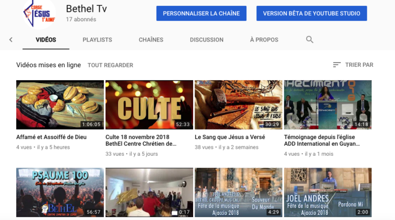 Bethel Tv sur Youtube